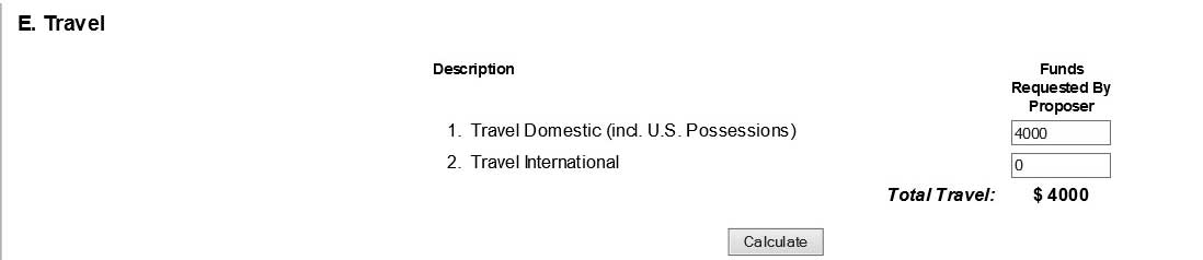 Travel section with input fields for funds requested for foriegn and domestic travel