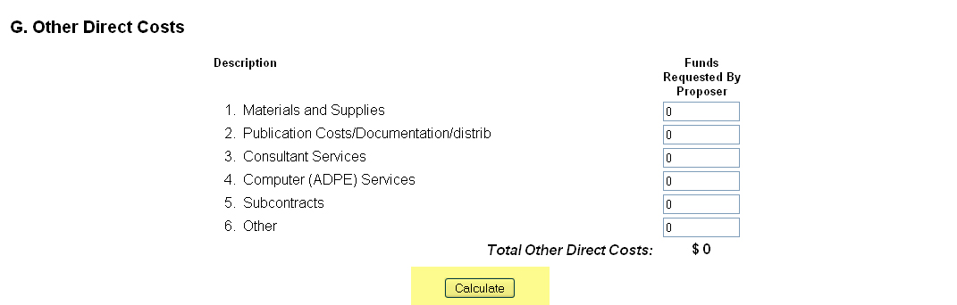 Other Direct Costs section with input fields for funds requested