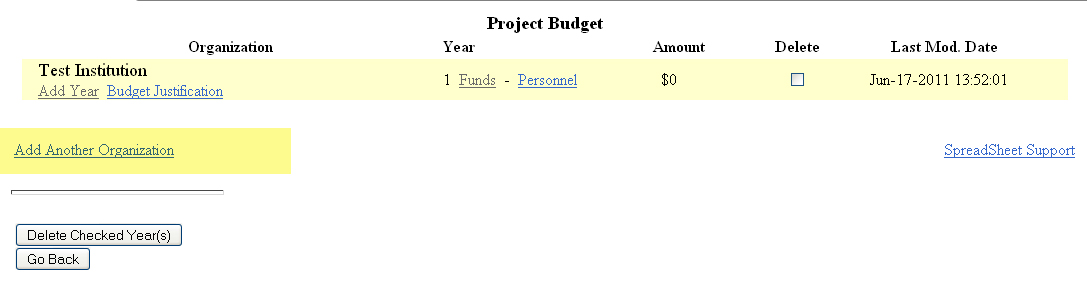 Project budget information table with link to add another organization highlighted in lower left corner