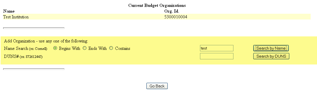 Current Budget Organizations screen with input fields for name or DUNS search