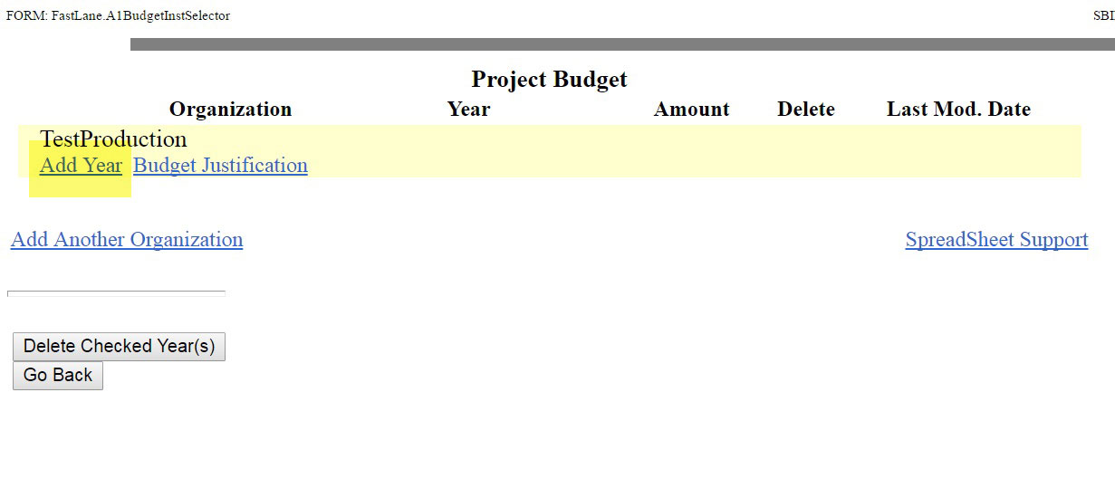 Project budget table displayed