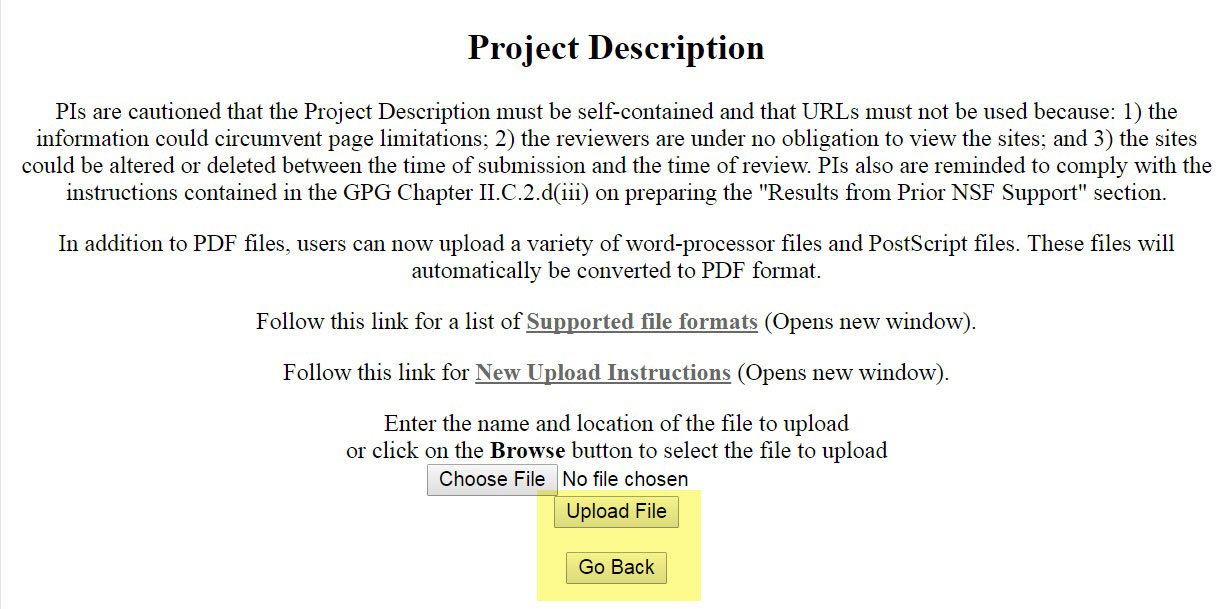 Project Description file upload screen