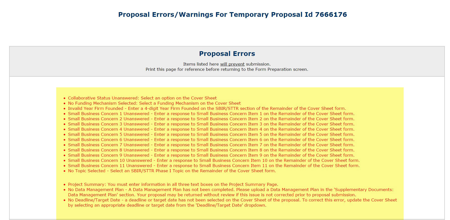 Proposal Errors/Warnings screen showing list of errors in red
