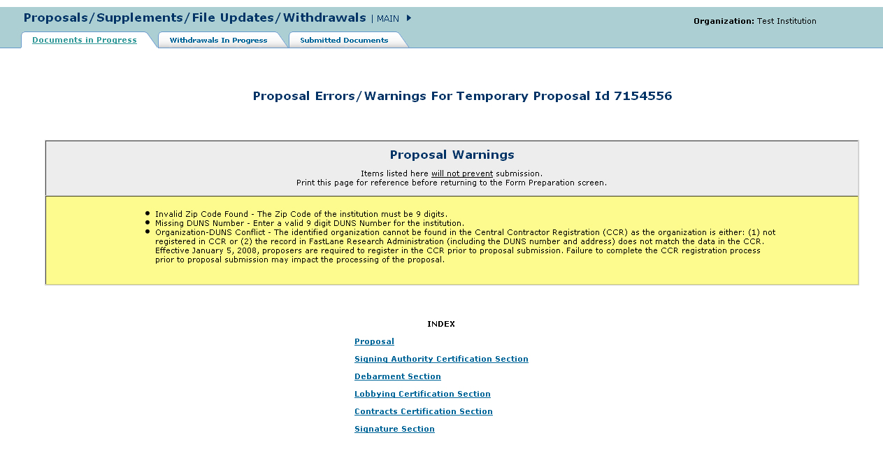 SRO proposal Error/Warnings screen with list of warnings