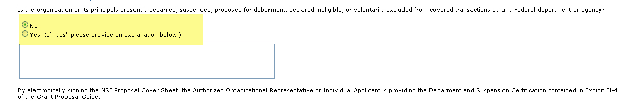 Debarment and Suspension radio buttons and text field
