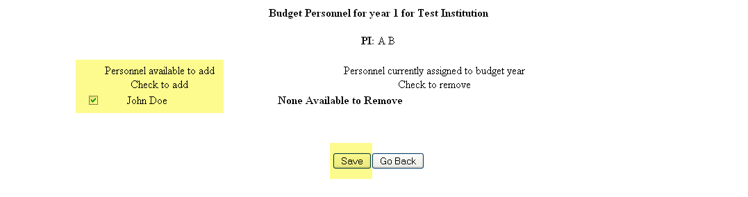 Example of saved senior personnel with checkbox option to remove