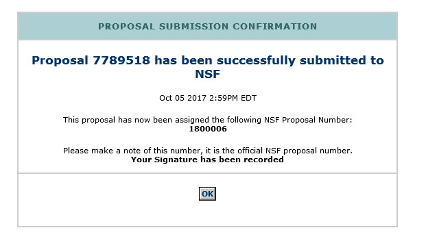 Proposal Submission Confirmation screen with proposal number listed