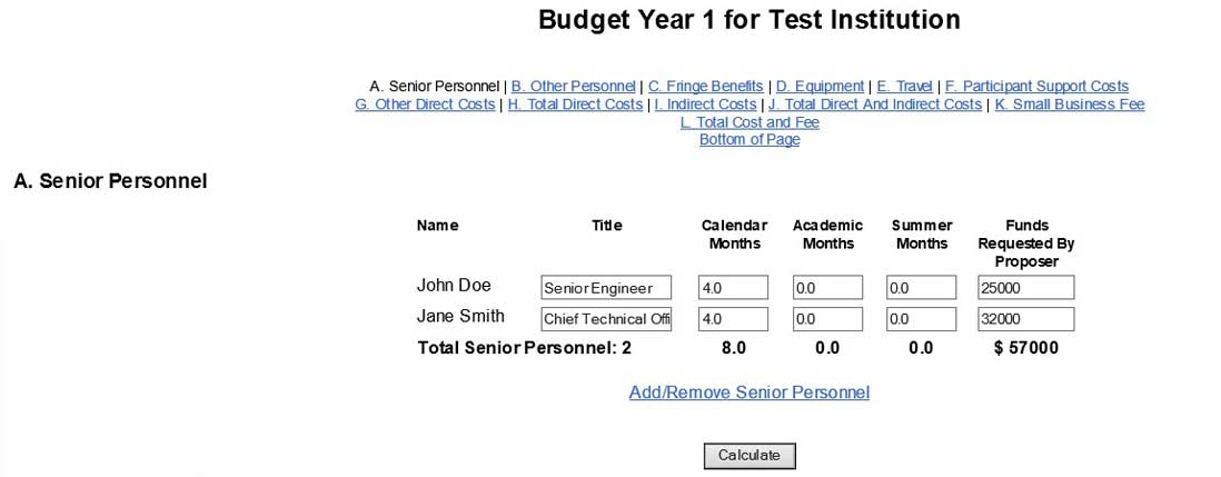 Budget Year 1 screen with Senior Personnel table and Calendar Months input column highlighted
