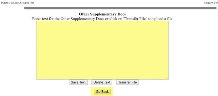 Other Supplementary Docs file upload screen